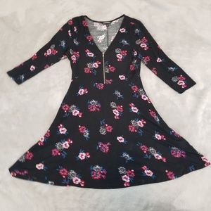 Black Floral Skater Dress with Front Zipper S